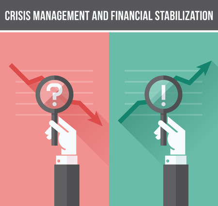 results: Flat design concept of analyzing business financial and economic crisis and growth - Vector illustration