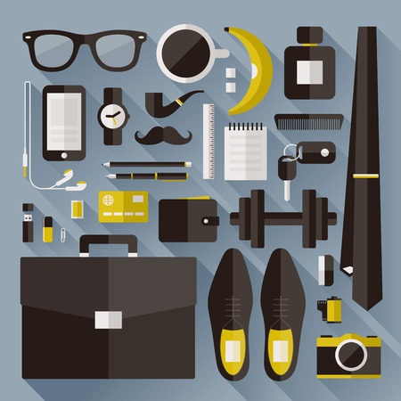 Modern businessman essentials - Flat design elements with long shadow - Vector illustration Vector