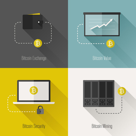mining icons: Bitcoin modern flat design elements - Vector illustration