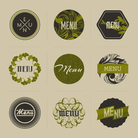 Elegant nature-themed badges in green - vector illustration Vector