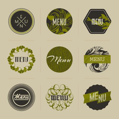 Elegant nature-themed badges in green - vector illustration Vector