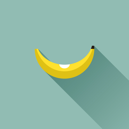 Banana - flat design with long shadow - vector illustration