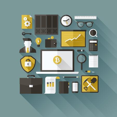 rekenmachine: Bitcoin essentials - moderne platte vector design elementen