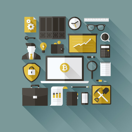 Bitcoin essentials - modern flat vector design elements Ilustração