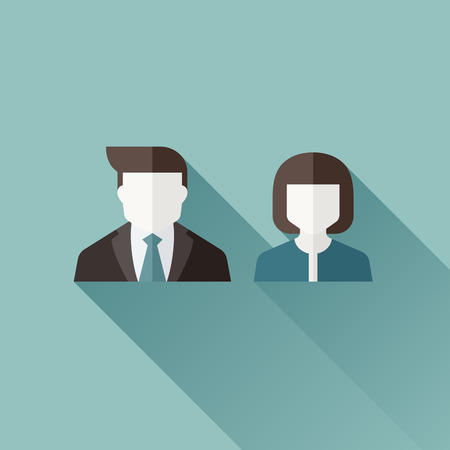 Male and female user icons - flat design with long shadow - vector illustration Vector