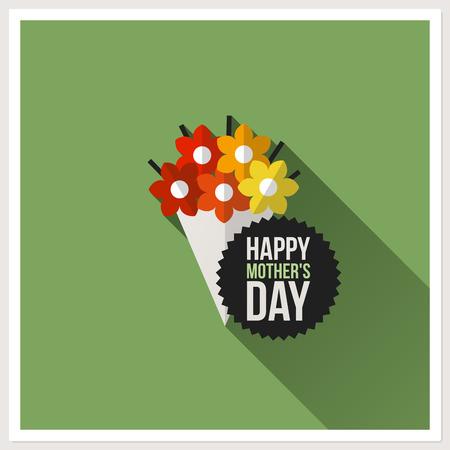 Día de madres feliz - tarjeta de felicitación de diseño plano con colorido ramo Ilustración de vector