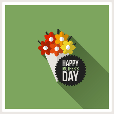 Happy Mothers Day - flat design greeting card with colorful bouquet Vector