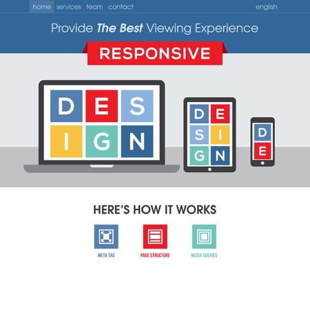 nav: Responsive design website template - Modern flat vector design with mobile gadgets
