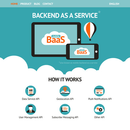 Flat vector website template with mobile gadgets displaying backend as a service