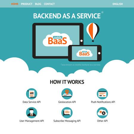 minimal: Vector plana plantilla de p�gina web con los gadgets m�viles mostrando backend como un servicio Vectores