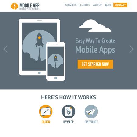plantilla: Trendy plantilla web vector plana para la compañía la creación de aplicaciones móviles y sitios web que responden