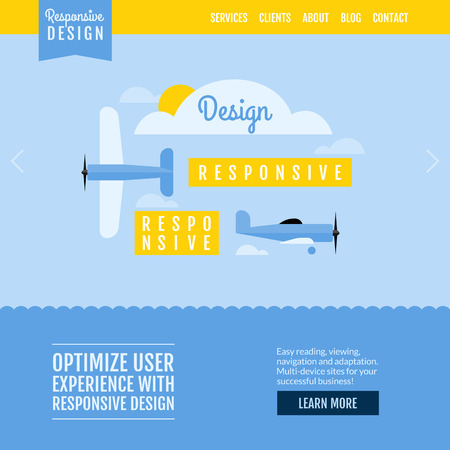 Modern flat vector website template with planes displaying responsive design Illustration