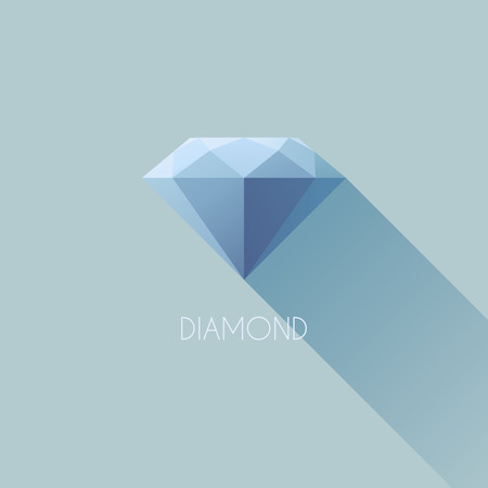 Diamond - Flat vector design with long shadow