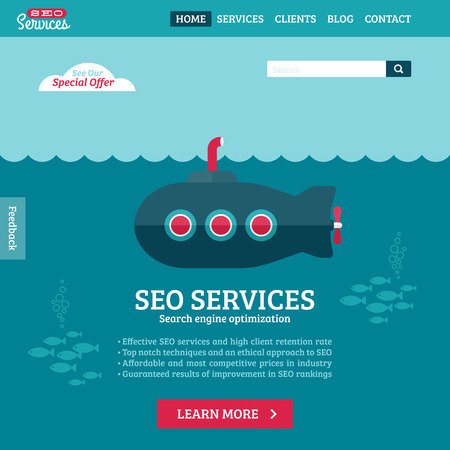 submarine: Flat design vector website template of SEO website searching optimization with cartoon submarine