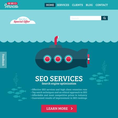 Plat ontwerp vector website template van SEO website optimalisatie zoeken met cartoon onderzeeër