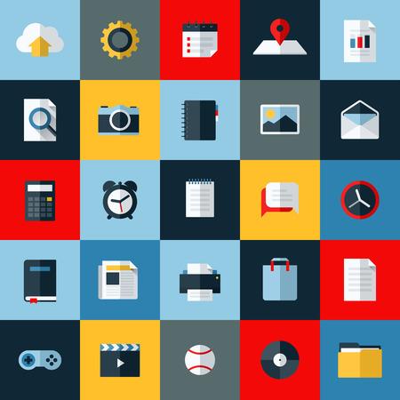 Biểu tượng vector phẳng hiện đại thiết lập các yếu tố phổ quát cho web và điện thoại di động