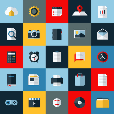 Modern flat vector icons set of universal elements for web and mobile 向量圖像