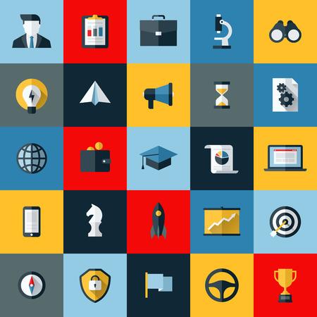 social media marketing: Iconos Dise�o plano conjunto de vectores de la p�gina web de SEO buscando la optimizaci�n y marketing en medios sociales Vectores