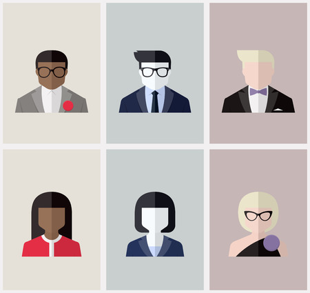 Modern flat vector avatars - Male and female user icons Vector