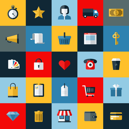 Set of flat vector online shopping and e-commerce themed icons for websites and mobile phone services and apps Vector
