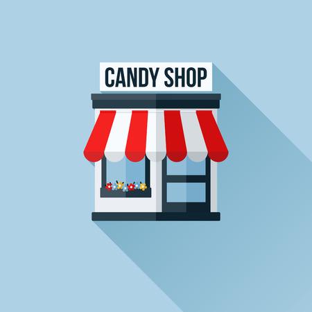 stores: Vector pictogram van stijlvolle winkel of winkel of boetiek met luifel Stock Illustratie