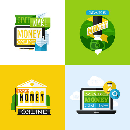 online trading: Flat vector design of make money concept with financial icons and dollar symbols Illustration