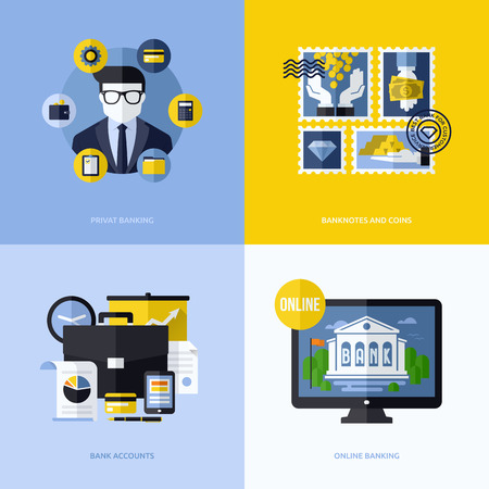 sales bank: Flat vector design with banking symbols and icons - Conceptual illustrations of private banking, banknotes and coins, bank accounts and online banking