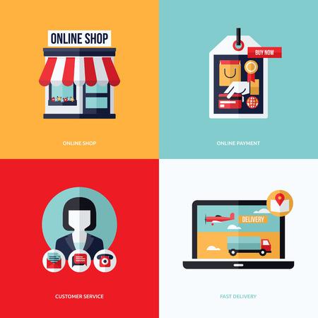 온라인 상점, 온라인 지불, 고객 서비스 및 배달의 개념적 그림 - 전자 상거래 및 온라인 쇼핑 아이콘 및 요소와 평면 벡터 디자인
