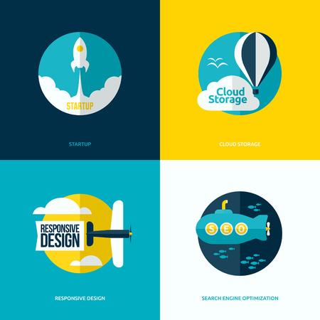 submarino: Diseño vectorial plana del proceso de inicio, almacenamiento en la nube, diseño web responsivo y SEO con cohetes, globos aerostáticos, aviones y submarinos Vectores