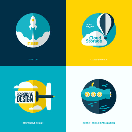 Flat vector design of the startup process, cloud storage, responsive web design and SEO with rocket, hot air balloon, plane and submarine Vector