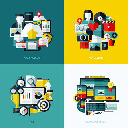 document management: Flat vector icons set of cloud storage, social media, SEO and responsive web design