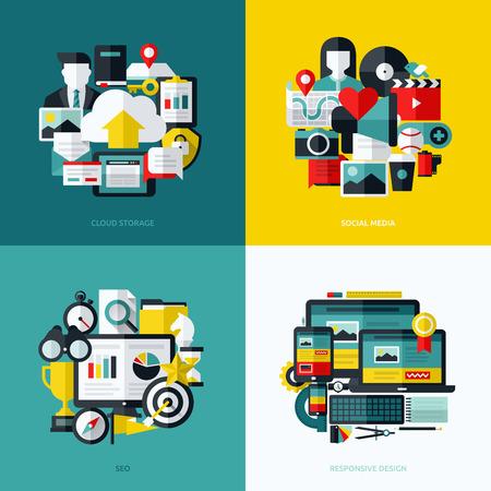 document management: Iconos vectoriales Flat conjunto de almacenamiento en la nube, medios sociales, SEO y diseño web sensible