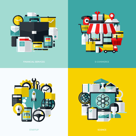 Flat vector icons set of financial services, e-commerce, startup and science