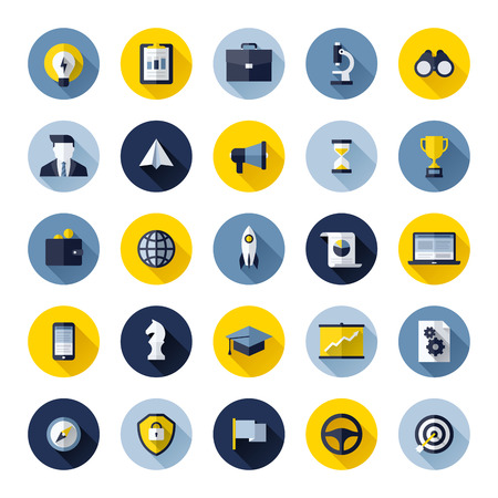 Modern flat icons set of SEO website searching optimization and social media marketing