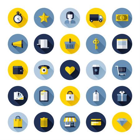retail shop: Iconos planos modernos conjunto de las compras en l�nea y el comercio electr�nico para el dise�o de p�ginas web y aplicaciones m�viles