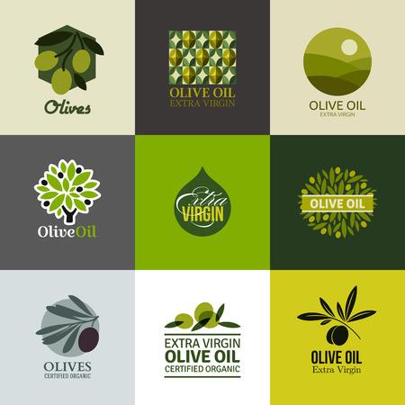 foglie ulivo: Set di etichette e emblemi con ramo d'ulivo
