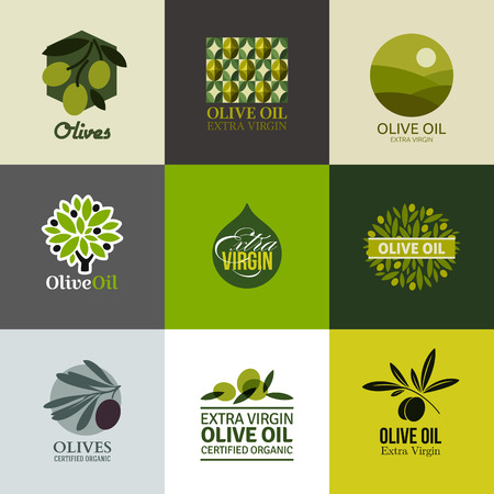 olijf: Set etiketten en emblemen met olijftak Stock Illustratie