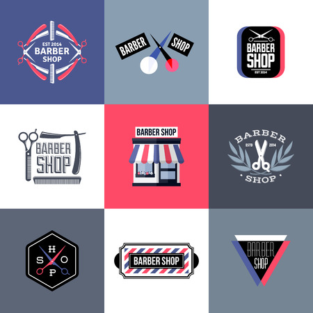 barber scissors: Set of barber shop labels, emblems and design elements