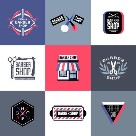 Set of barber shop labels, emblems and design elements