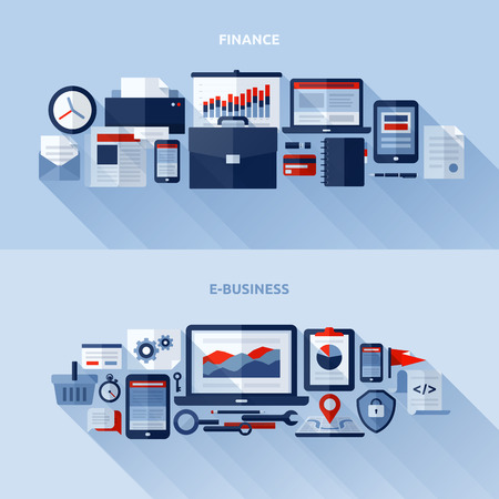 Flat design elements of finance and e-business