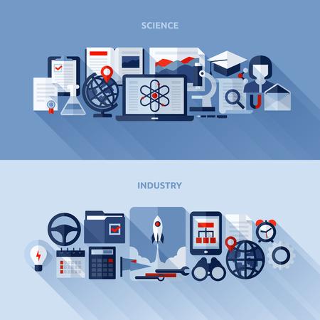 Éléments de conception à plat de la science et de l'industrie