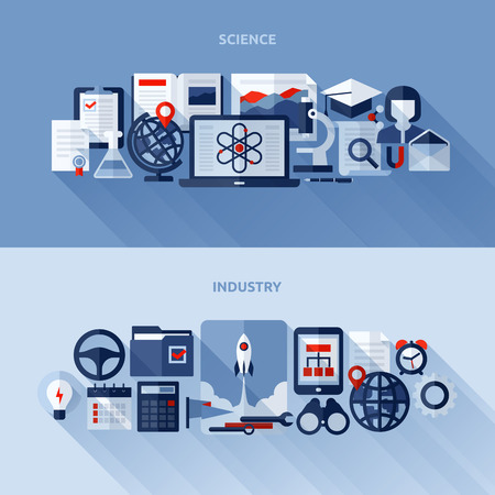 Flat design elements of science and industry