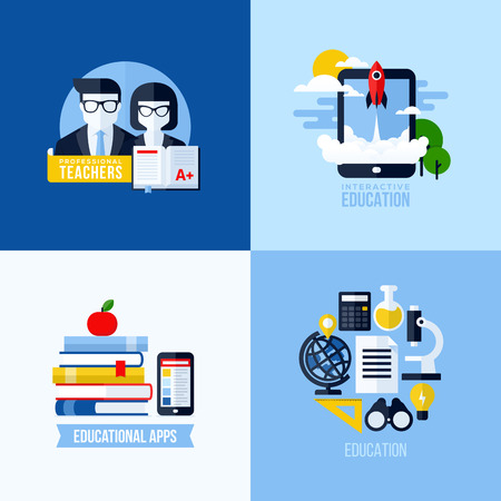 Modern flat vector concept of educational elements for websites and mobile apps  Icons set for education and online learning