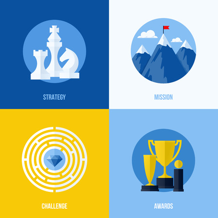 seo concept: Set of modern flat vector business elements for websites and mobile apps  Concepts for strategy, mission, challenge, awards Illustration