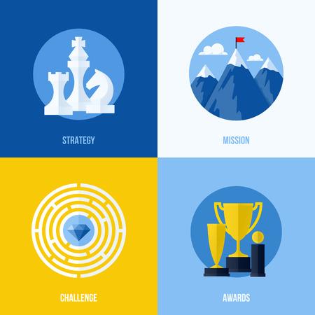 Thiết lập các yếu tố kinh doanh vector phẳng hiện đại cho các trang web và ứng dụng di động cho khái niệm chiến lược, nhiệm vụ, thách thức, giải thưởng