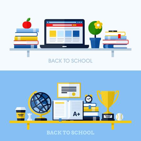 enseñanza: Ilustración vectorial Escuela de diseño plano con estantería y material escolar Conceptos para los sitios web y materiales impresos Vectores
