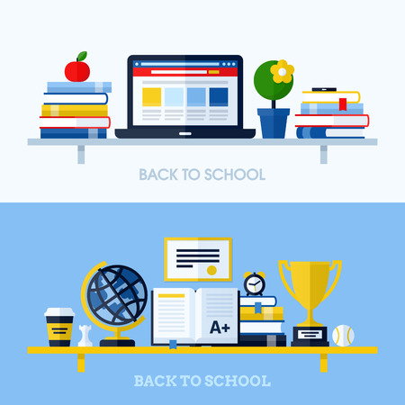 School flat design vector illustration with bookshelf and school supplies  Concepts for websites and printed materials 向量圖像
