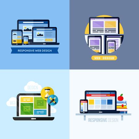 přátelský: Moderní ploché vektorové koncepce reagujících web design Ikony set pro webové stránky, mobilní aplikace a tiskovin Ilustrace