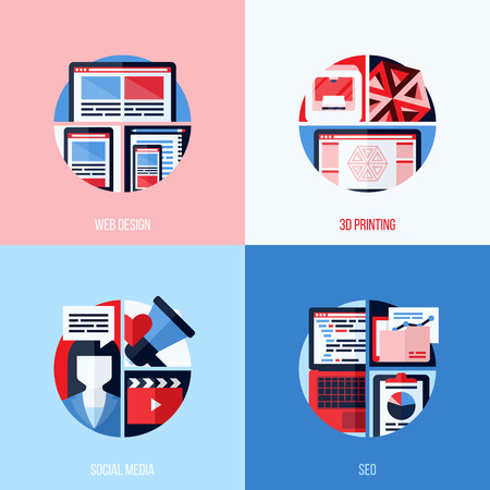 printed media: Modern flat vector icons of web design, 3D printing, social media, SEO  Creative concepts for websites, mobile apps and printed materials