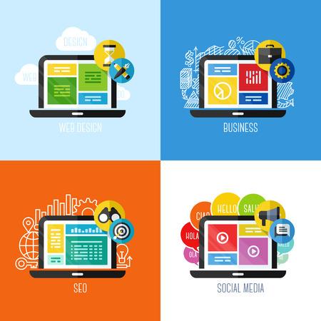 웹 사이트, 모바일 앱 및 인쇄 재료 세트 디자인 요소